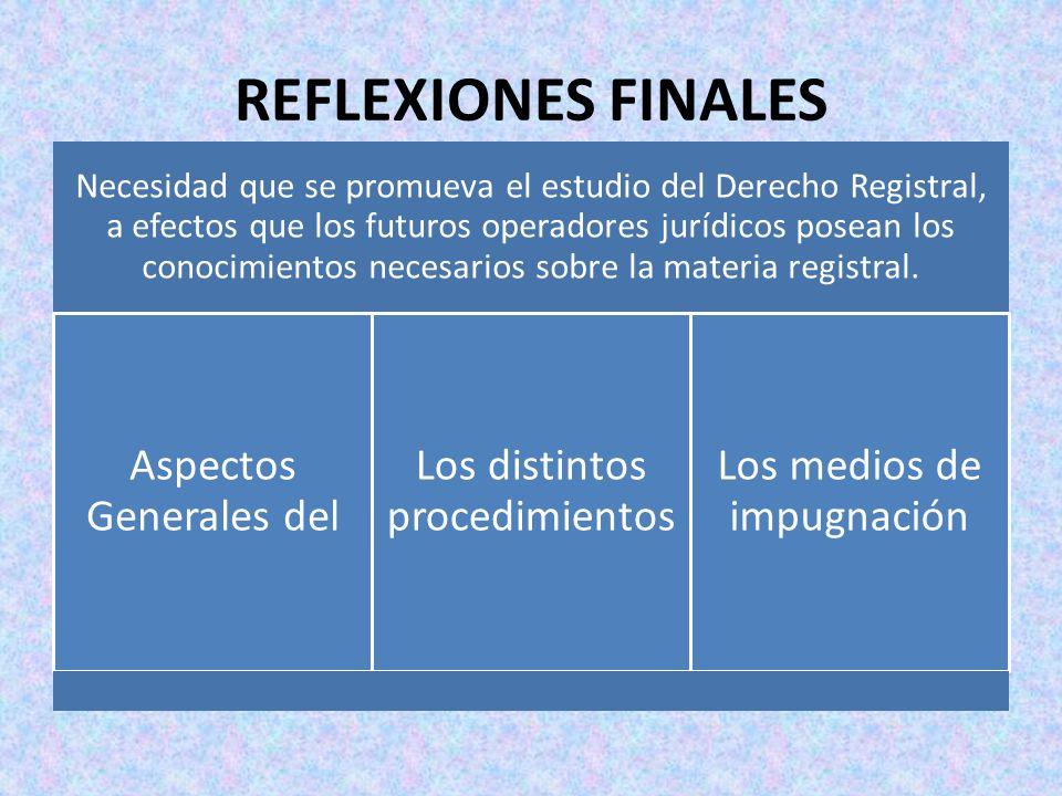 REFLEXIONES FINALES Aspectos Generales del