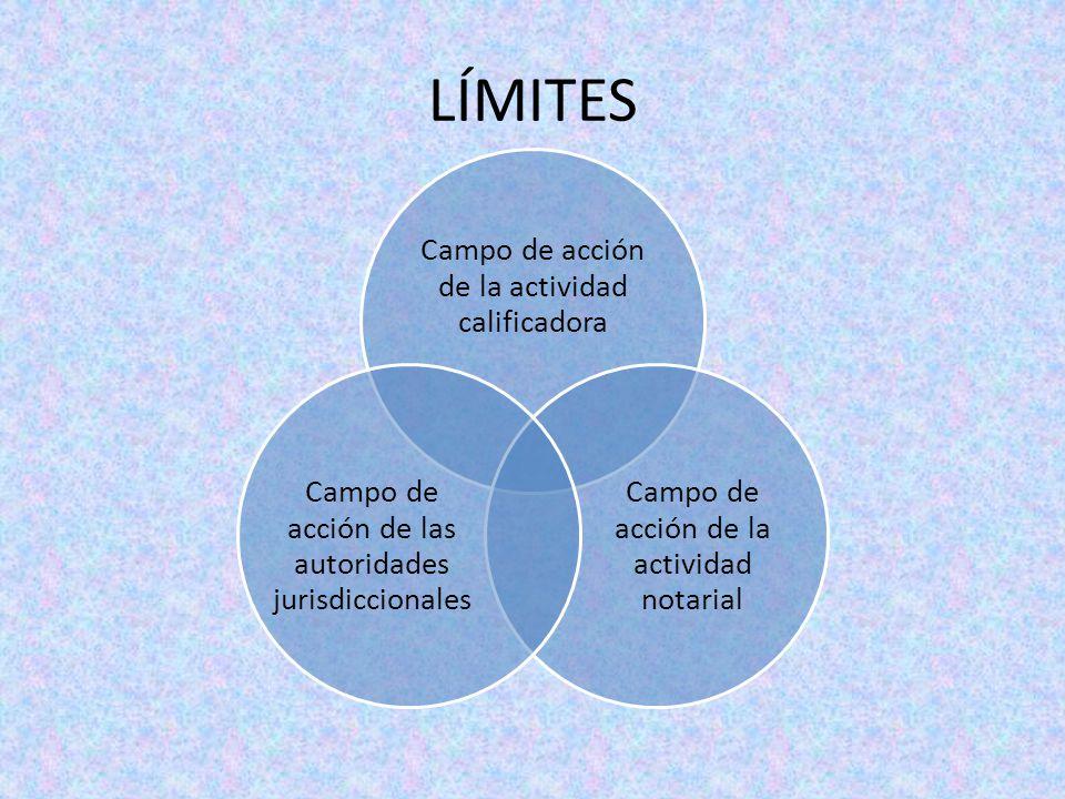 LÍMITES Campo de acción de la actividad calificadora