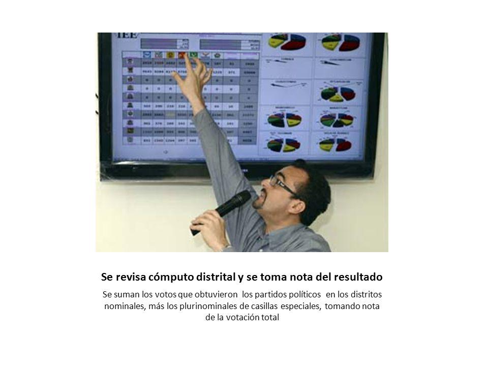 Se revisa cómputo distrital y se toma nota del resultado