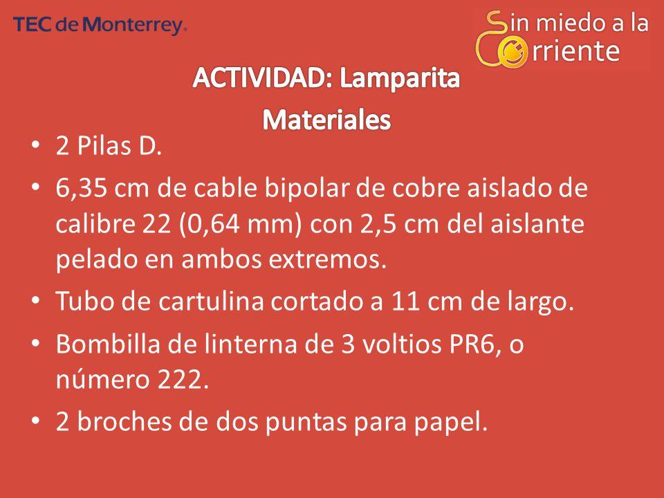 ACTIVIDAD: Lamparita Materiales. 2 Pilas D.