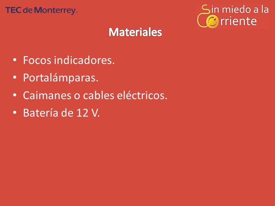 Materiales Focos indicadores. Portalámparas. Caimanes o cables eléctricos. Batería de 12 V.