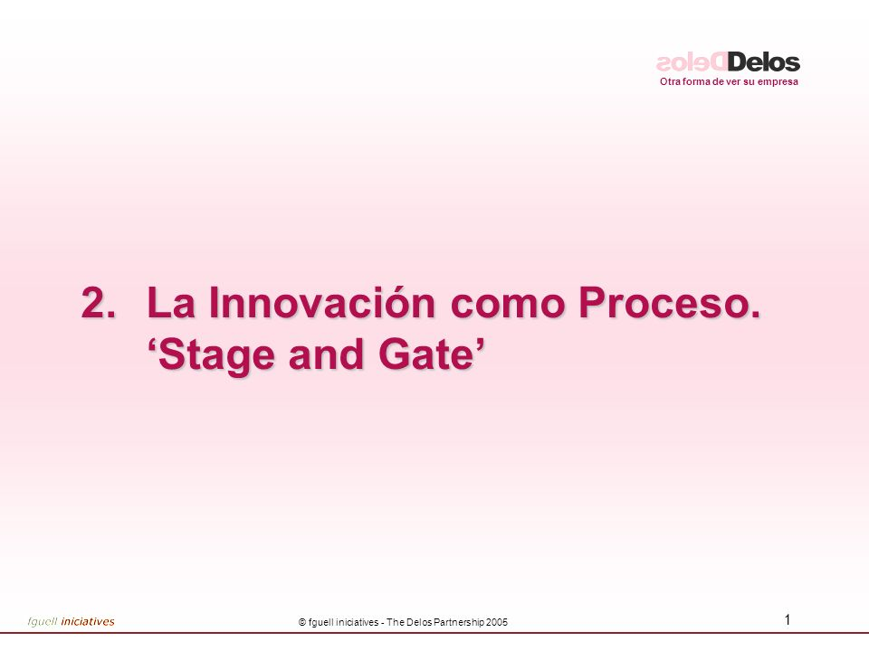 La Innovación como Proceso. 'Stage and Gate'