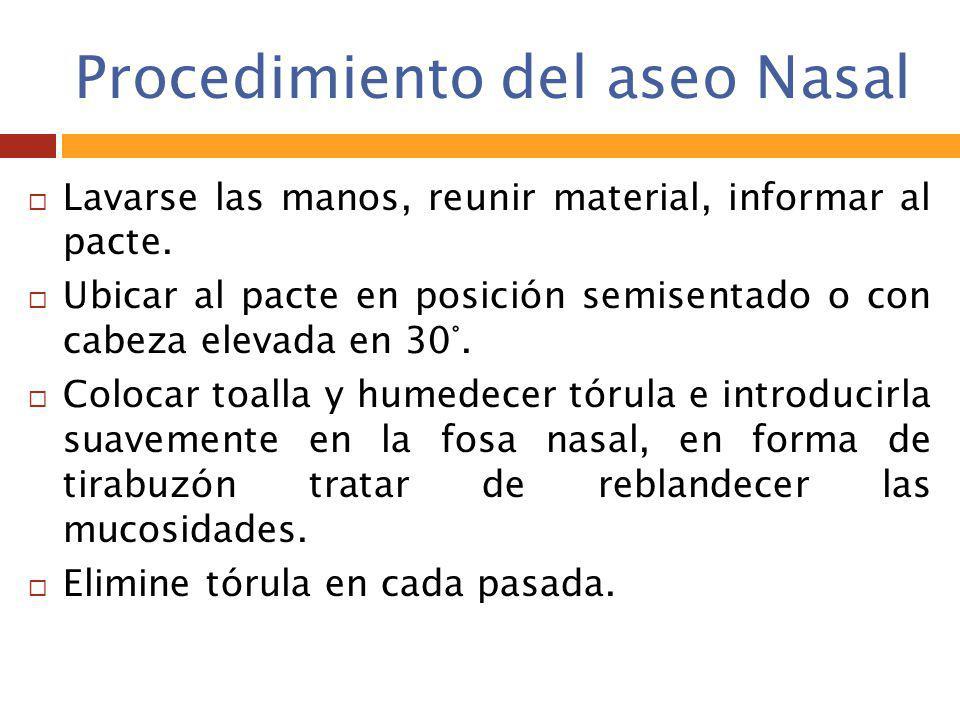 Procedimiento del aseo Nasal