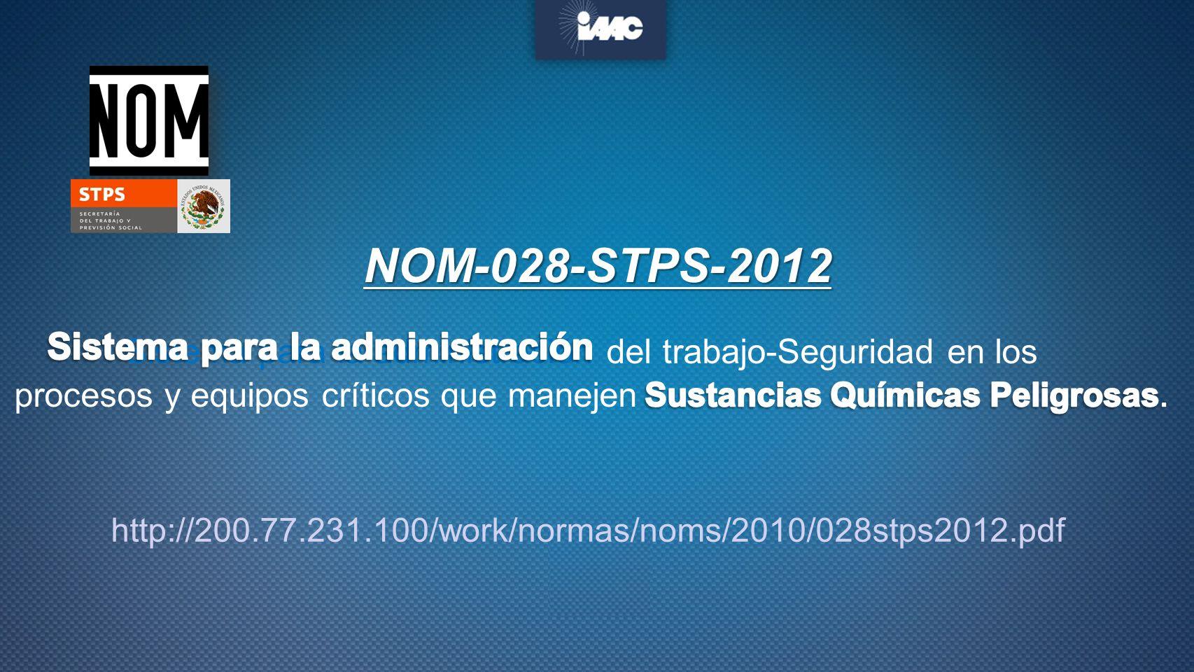 NOM-028-STPS-2012 Sistema para la administración