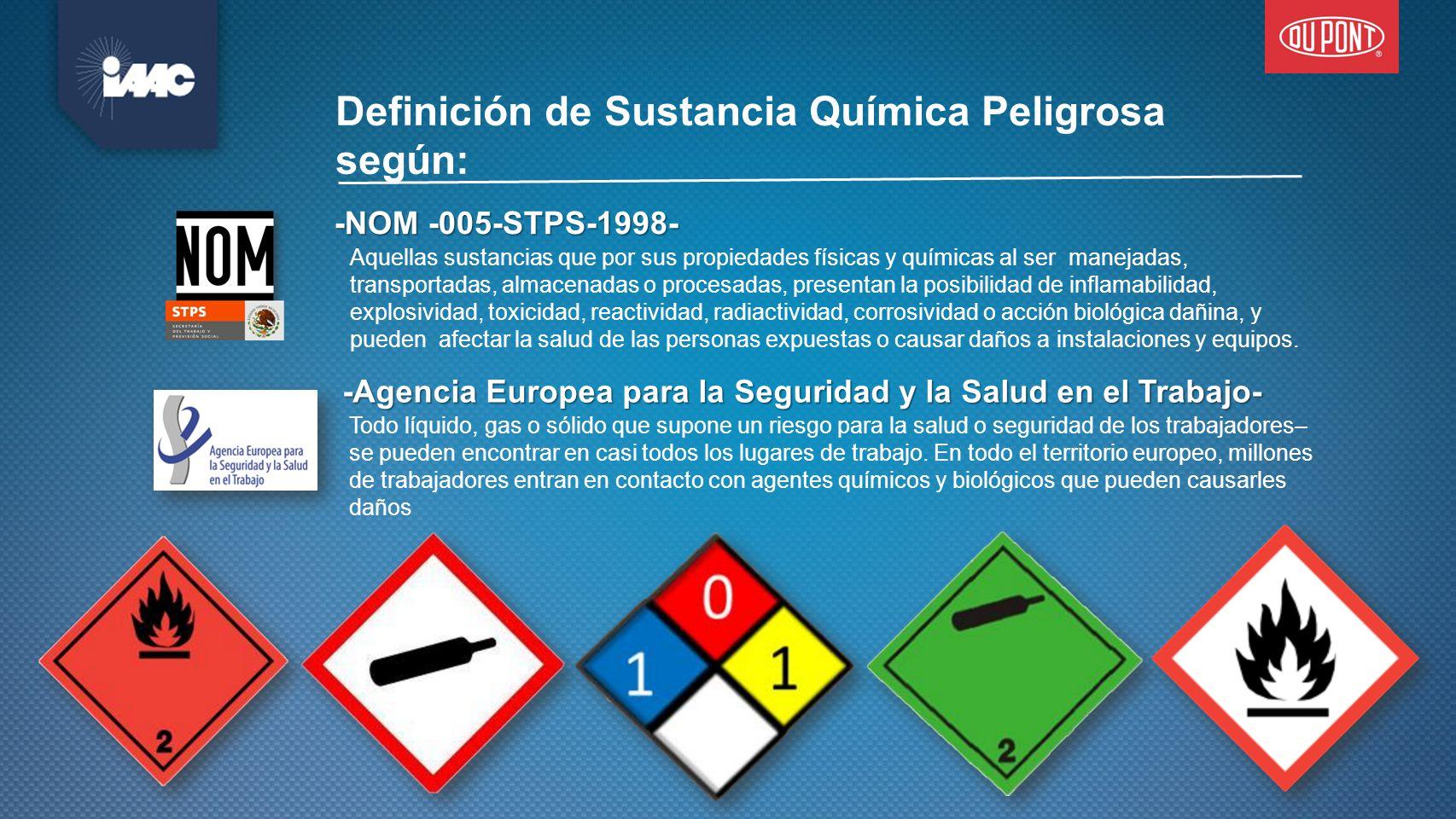 Definición de Sustancia Química Peligrosa según: