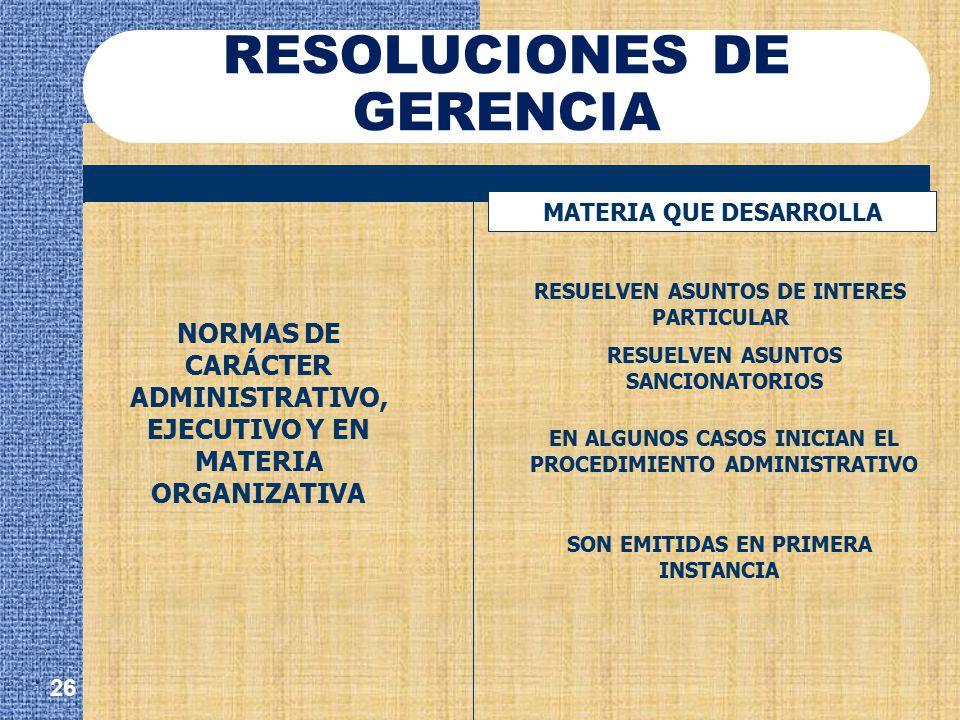 RESOLUCIONES DE GERENCIA