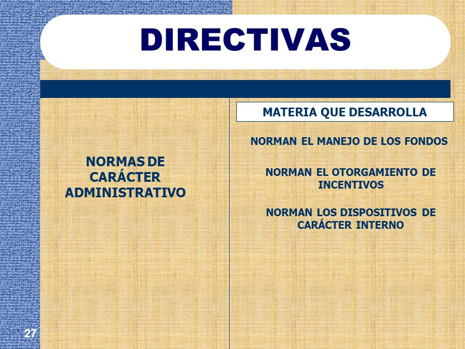 DIRECTIVAS . NORMAS DE CARÁCTER ADMINISTRATIVO MATERIA QUE DESARROLLA