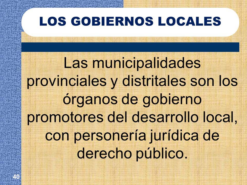 LOS GOBIERNOS LOCALES