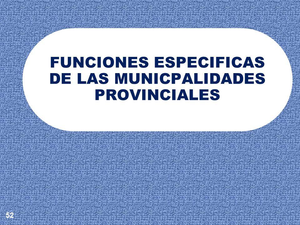 FUNCIONES ESPECIFICAS DE LAS MUNICPALIDADES PROVINCIALES