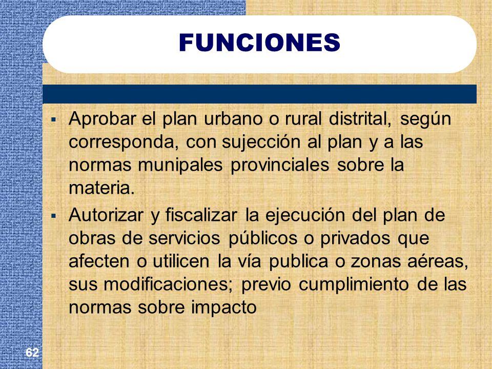 FUNCIONES Aprobar el plan urbano o rural distrital, según corresponda, con sujección al plan y a las normas munipales provinciales sobre la materia.