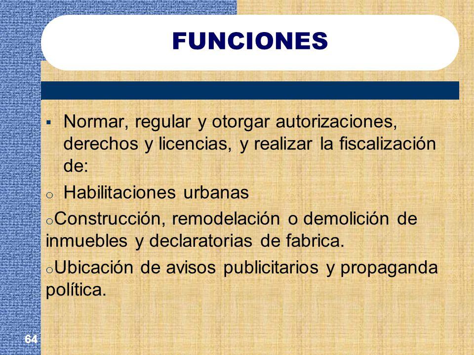 FUNCIONES Normar, regular y otorgar autorizaciones, derechos y licencias, y realizar la fiscalización de: