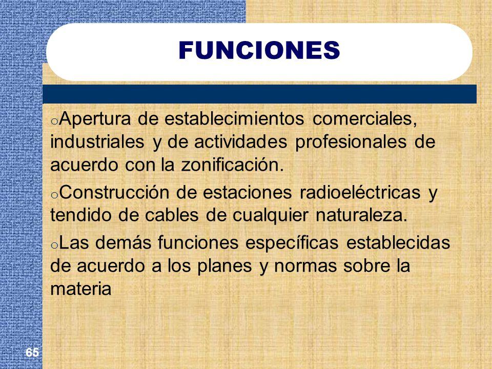 FUNCIONES Apertura de establecimientos comerciales, industriales y de actividades profesionales de acuerdo con la zonificación.