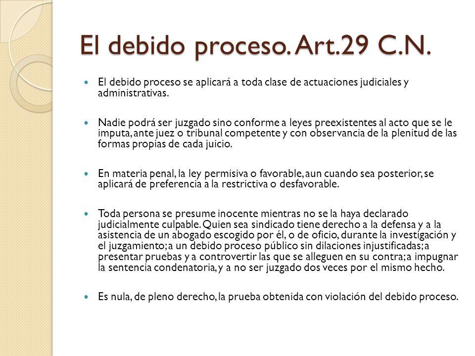 El debido proceso. Art.29 C.N.
