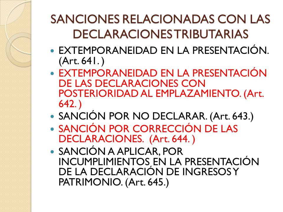 SANCIONES RELACIONADAS CON LAS DECLARACIONES TRIBUTARIAS