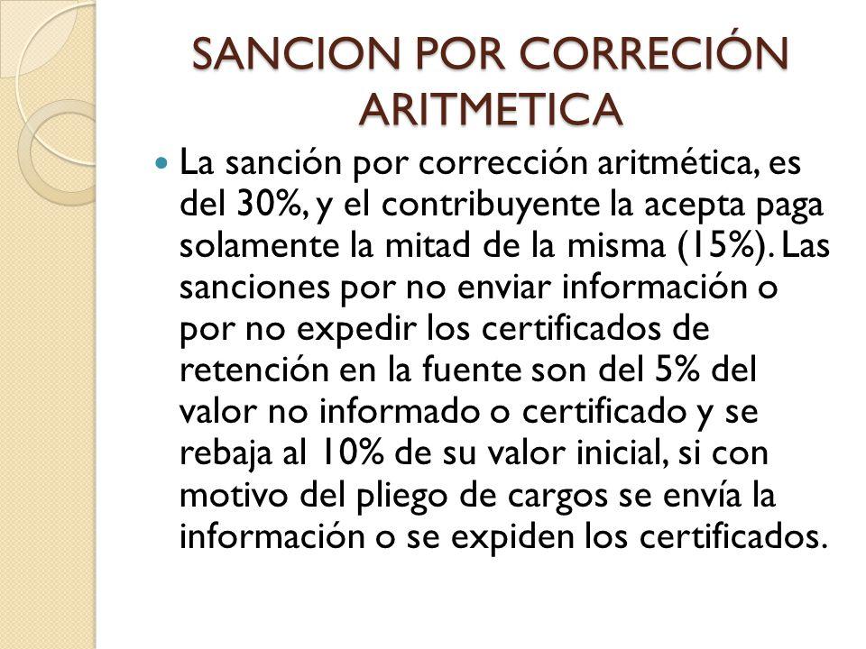 SANCION POR CORRECIÓN ARITMETICA