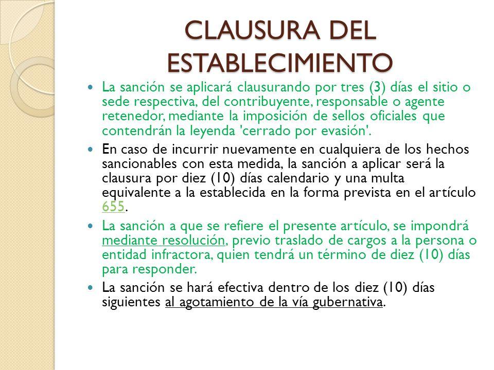 CLAUSURA DEL ESTABLECIMIENTO