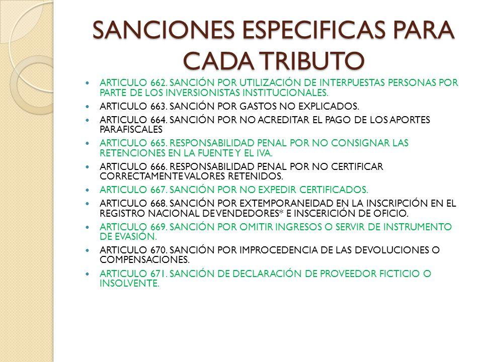 SANCIONES ESPECIFICAS PARA CADA TRIBUTO