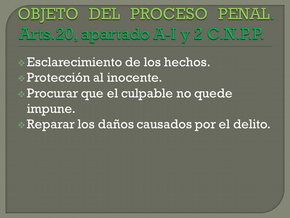 OBJETO DEL PROCESO PENAL. Arts.20, apartado A-I y 2 C.N.P.P.