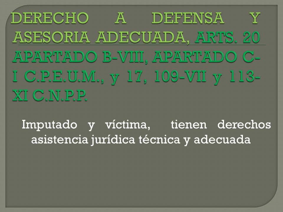 DERECHO A DEFENSA Y ASESORIA ADECUADA, ARTS