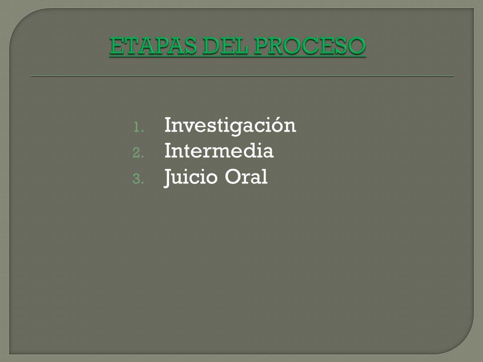 ETAPAS DEL PROCESO Investigación Intermedia Juicio Oral