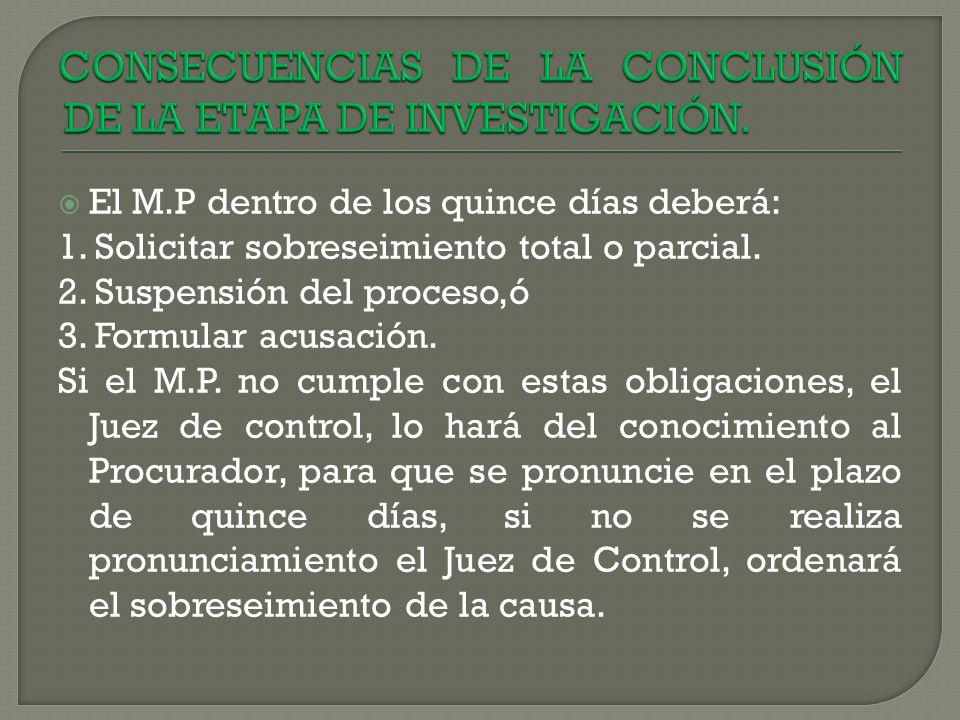 CONSECUENCIAS DE LA CONCLUSIÓN DE LA ETAPA DE INVESTIGACIÓN.
