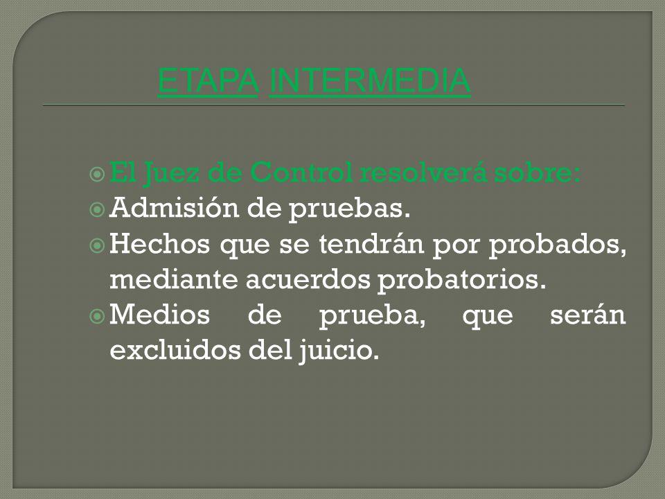 ETAPA INTERMEDIA El Juez de Control resolverá sobre: