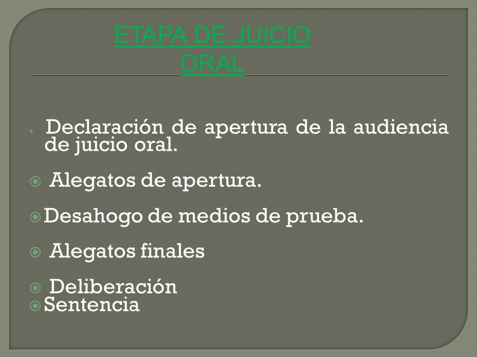 ETAPA DE JUICIO ORAL Alegatos de apertura.