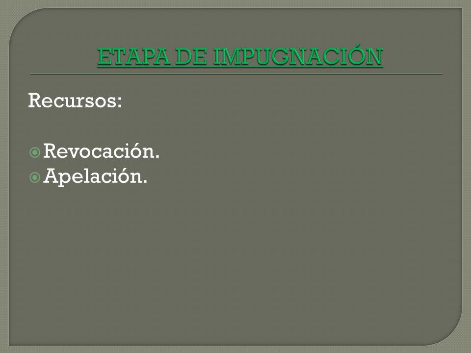 ETAPA DE IMPUGNACIÓN Recursos: Revocación. Apelación.