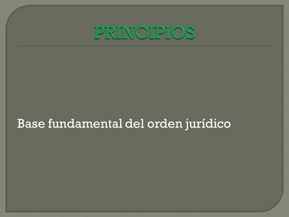 PRINCIPIOS Base fundamental del orden jurídico