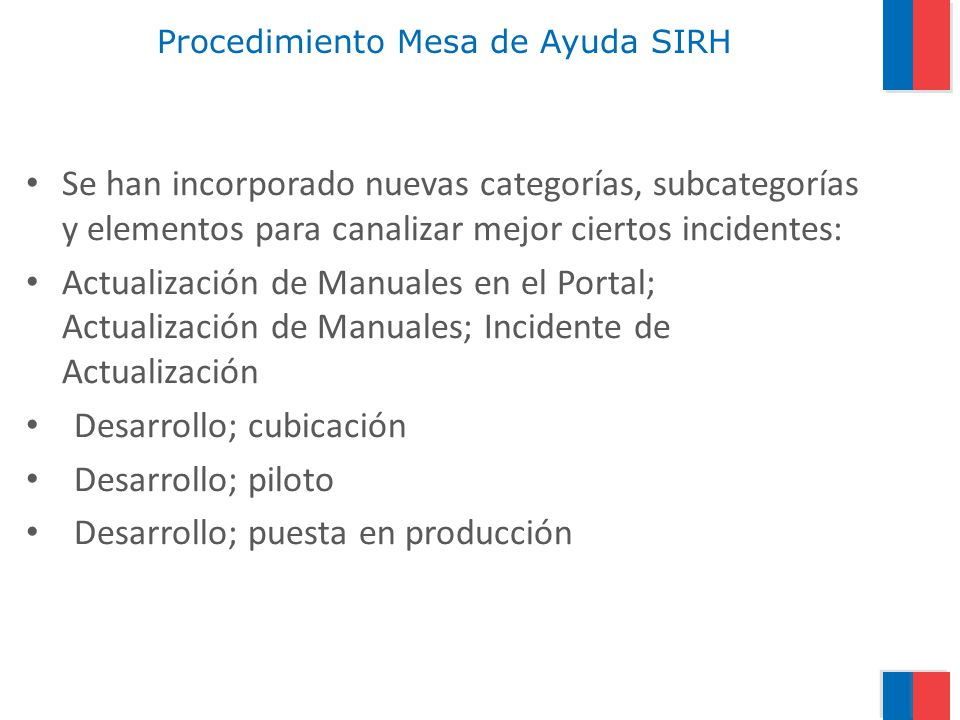 Procedimiento Mesa de Ayuda SIRH