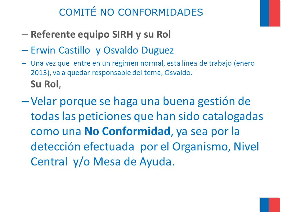 COMITÉ NO CONFORMIDADES
