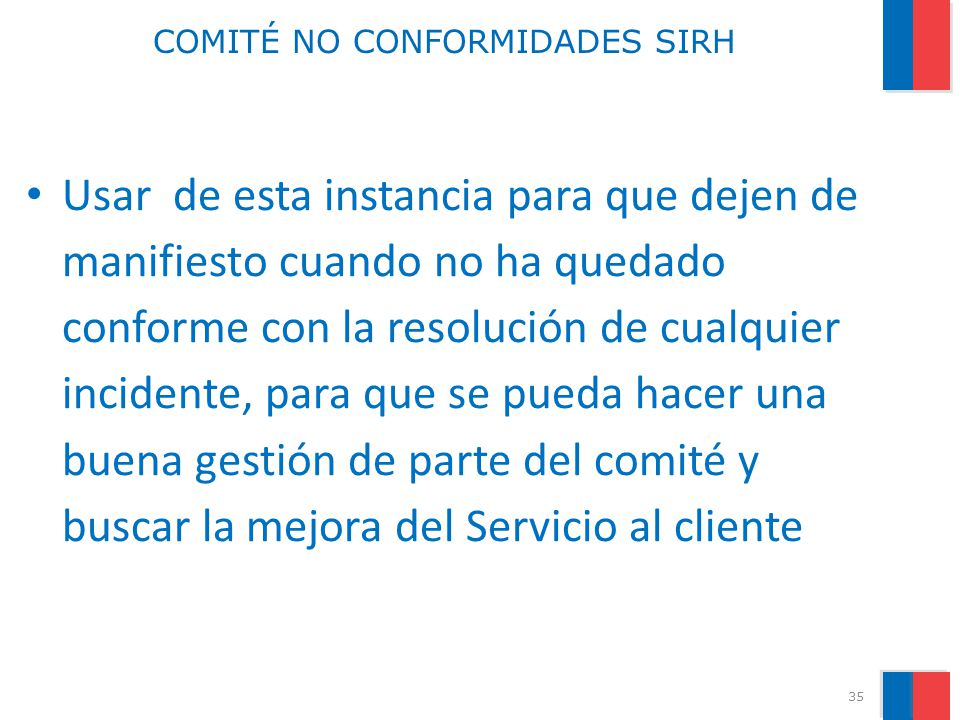 COMITÉ NO CONFORMIDADES SIRH