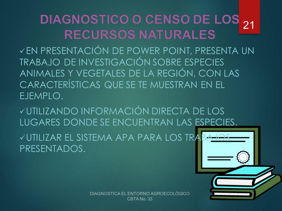 DIAGNOSTICO O CENSO DE LOS RECURSOS NATURALES