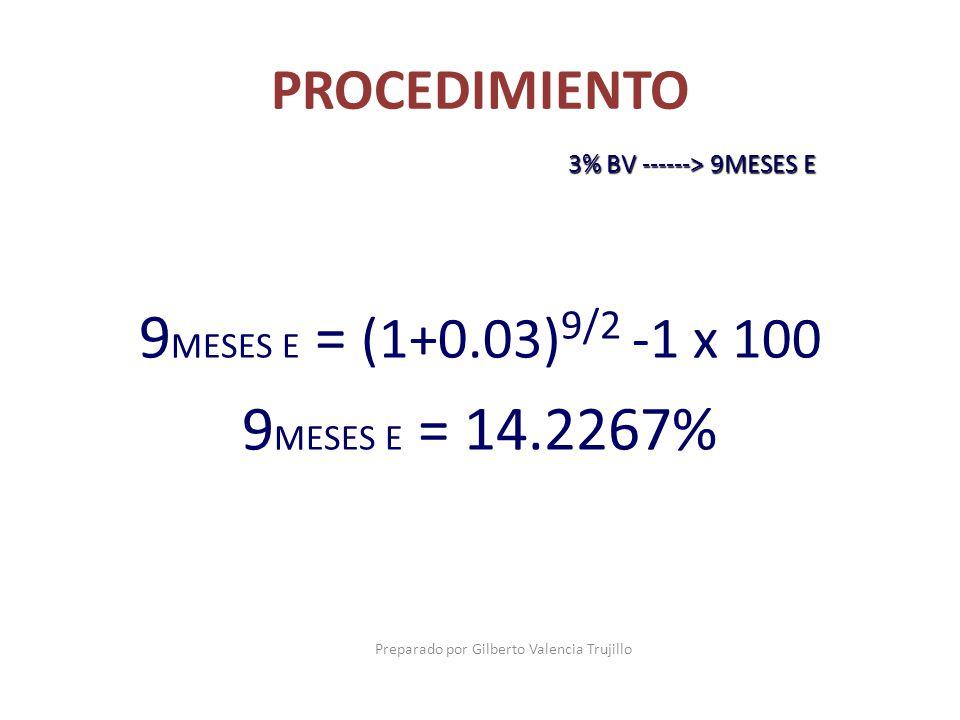 9MESES E = (1+0.03)9/2 -1 x 100 9MESES E = 14.2267%
