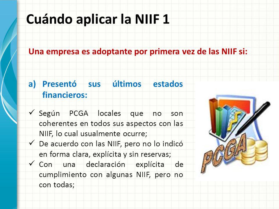Cuándo aplicar la NIIF 1 Una empresa es adoptante por primera vez de las NIIF si: Presentó sus últimos estados financieros: