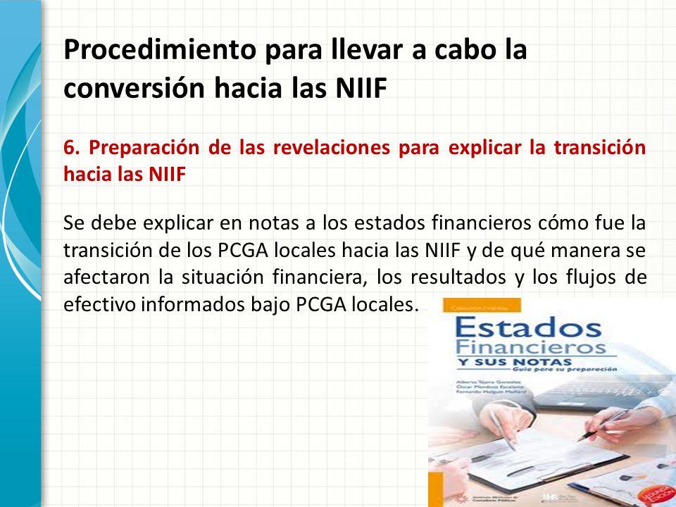 Procedimiento para llevar a cabo la conversión hacia las NIIF