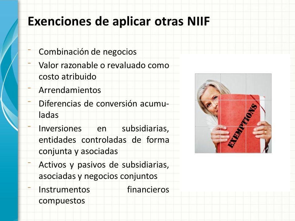 Exenciones de aplicar otras NIIF