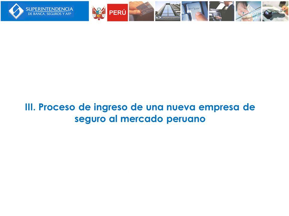 III. Proceso de ingreso de una nueva empresa de seguro al mercado peruano
