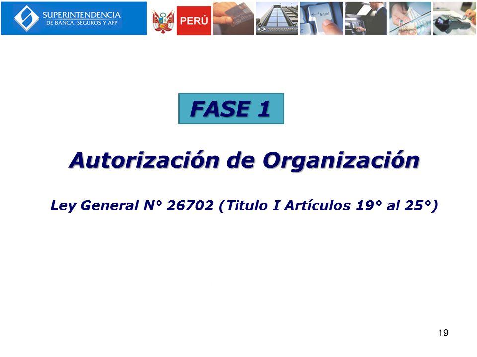 FASE 1 Autorización de Organización Ley General N° 26702 (Titulo I Artículos 19° al 25°)