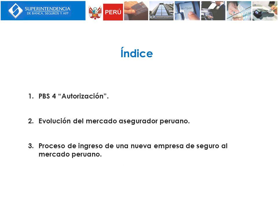 Índice PBS 4 Autorización . Evolución del mercado asegurador peruano.