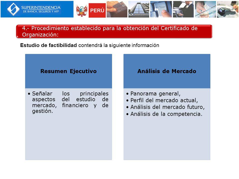 4.- Procedimiento establecido para la obtención del Certificado de Organización: