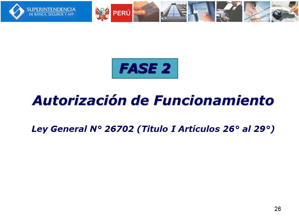 FASE 2 Autorización de Funcionamiento Ley General N° 26702 (Titulo I Artículos 26° al 29°) 26