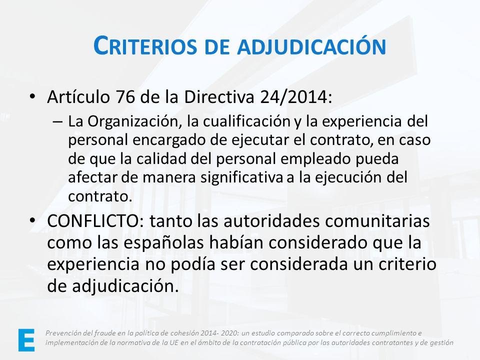 Criterios de adjudicación