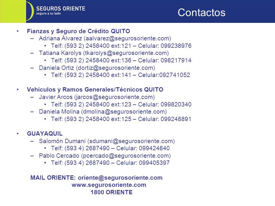 Contactos Fianzas y Seguro de Crédito QUITO