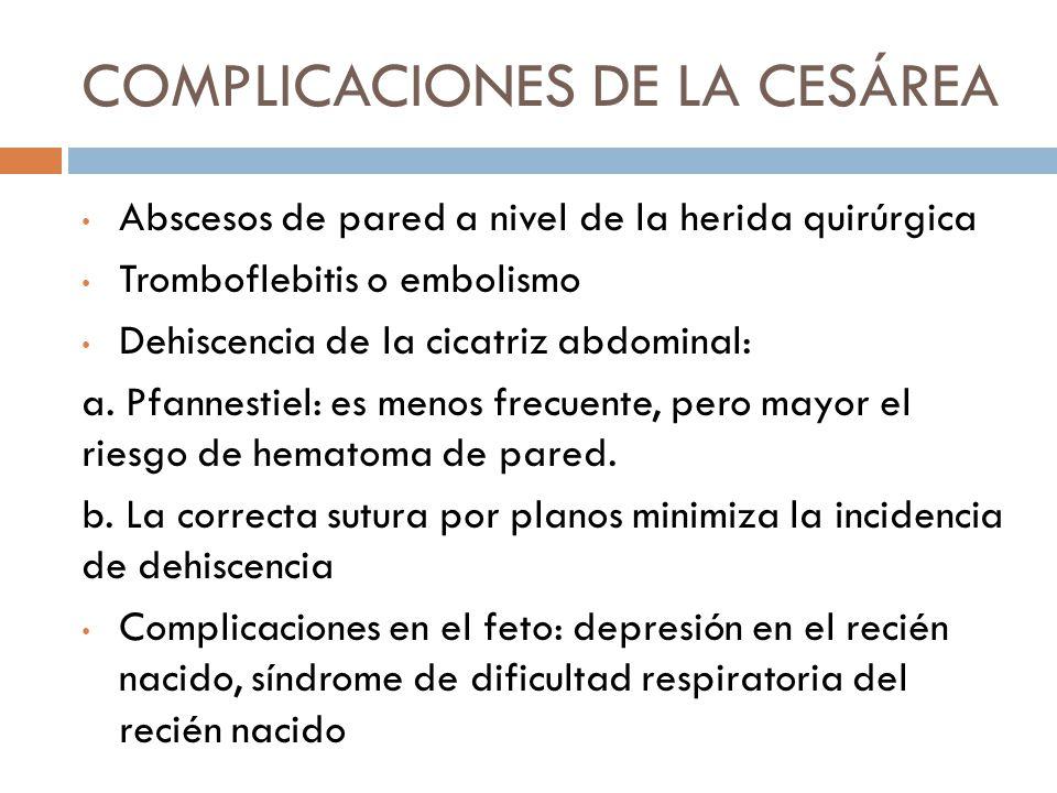 COMPLICACIONES DE LA CESÁREA