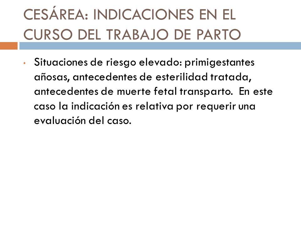 CESÁREA: INDICACIONES EN EL CURSO DEL TRABAJO DE PARTO