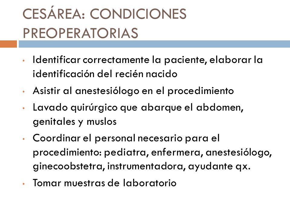CESÁREA: CONDICIONES PREOPERATORIAS