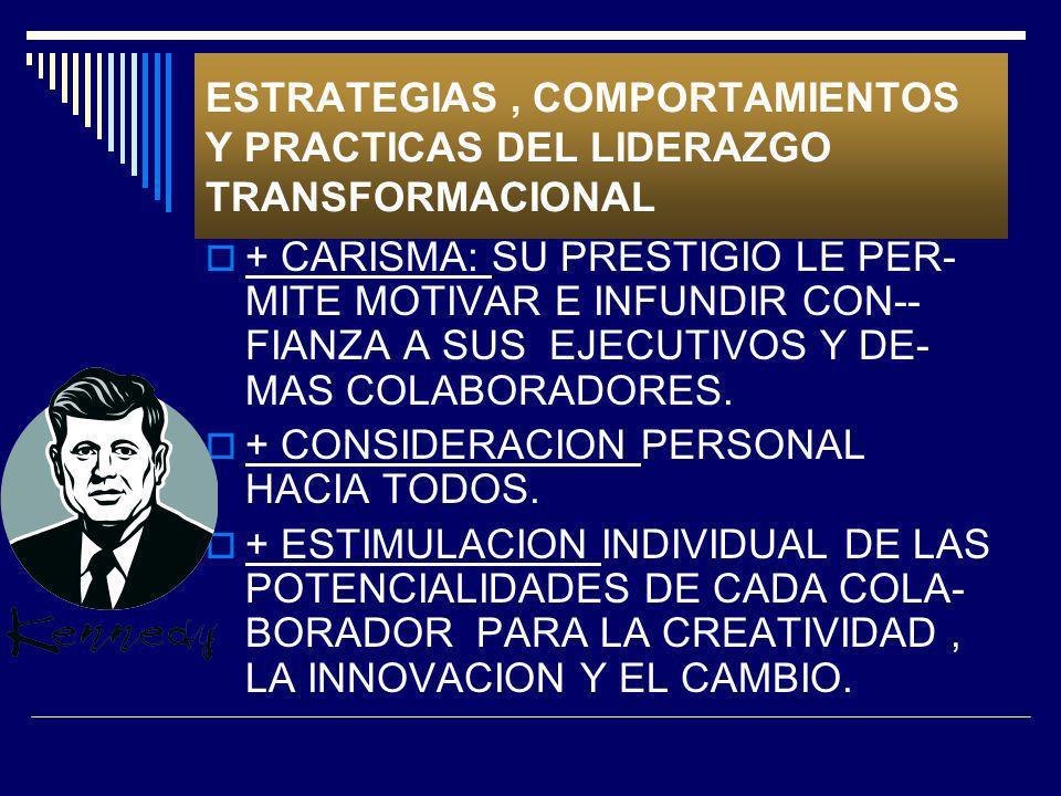 ESTRATEGIAS , COMPORTAMIENTOS Y PRACTICAS DEL LIDERAZGO TRANSFORMACIONAL