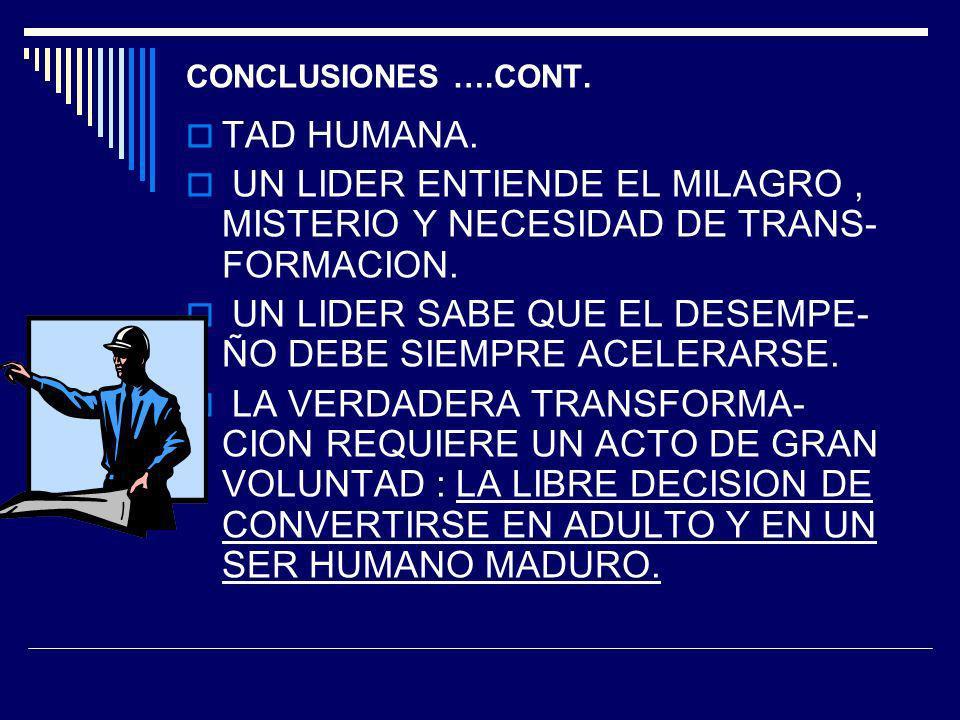 UN LIDER SABE QUE EL DESEMPE- ÑO DEBE SIEMPRE ACELERARSE.