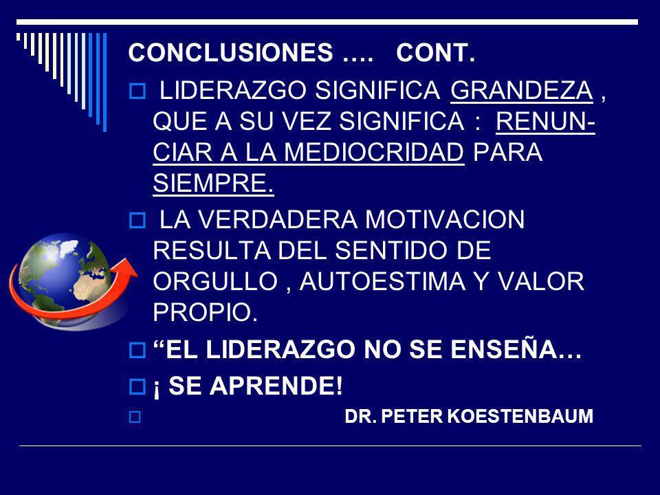 EL LIDERAZGO NO SE ENSEÑA… ¡ SE APRENDE!